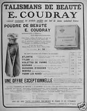 PUBLICITÉ E.COUDRAY TALISMANS DE BEAUTÉ POUDRE ET PARFUMS ATLANTIS TYLDIS