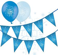"Happy Fathers Day Bunting & 12"" Blue Assorted Latex Balloons - Beer - pack of 12"