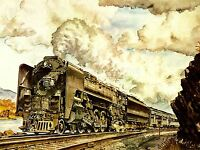 ART PRINT POSTER PAINTING DRAWING TRAIN POWER STEAM RAIL NOFL0619