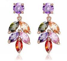 18K Rose Gold GP Austria Crystal Zircon Flower Drop Earring Lady Hoop earrings
