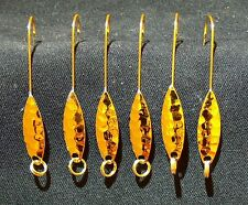 6 Gold Willow leaf / flutter spoon, catches shad, herring, trout walley panfish