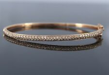 14K Rose Pink Gold 94 Pave Set Round 1.03ct Diamond 6.5'' Bangle Bracelet