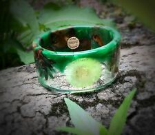 BRACELET GREEN, WOOD, RESIN, PINE CONE, DANDELION, NEW HANDMADE SIZE SMALL