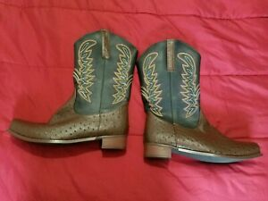 Men's Western Boots Cowboy Shoes Size 12 brown and black