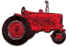 TRACTOR RED IRON ON PATCH APPLIQUE  3 1/4 X 2 3/8 inch