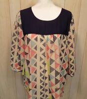 Umgee Women's Blouse Top Size XL Semi Sheer Pop Over Blue Multi Color Boho Chic