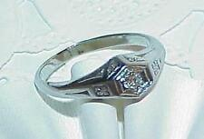 20K .20Ct Diamond Solitaire Ring Art Deco Antique White Gold Size 8.5
