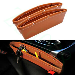 2x Car Brown PU Front Centre Seat Side Organizer Box Container For Mazda Model