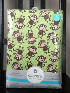 Carter's Quilted Playard Sheet Safari/Jungle/Monkey Baby Dude Light Green 27x39