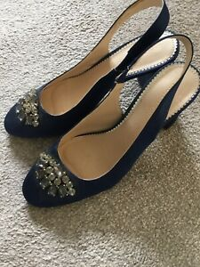 Monsoon Blue Satin Shoes Sz 40=7 Worn Once Only To A Wedding