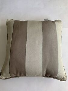 """Croscill Throw Bed Pillow Striped Pleated Sage Green Tan 18x18"""" Square"""