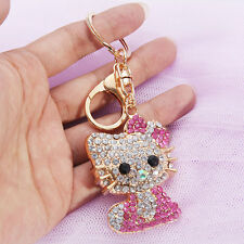 2018 Crystal  Hello Kitty Key Chains Ring Cap Bling Mobile Phone Handbag Pendant