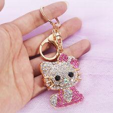 HelloKitty Key Chain Chains Ring Cap Bling Crystal Mobile Phone Handbag Pendant