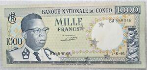 Democratic Republic of Congo 1000 Francs 1964 Uncirculated Banknote - Cancelled