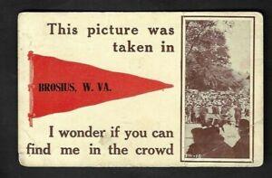 1913 Brosius,WV Pennant Postcard