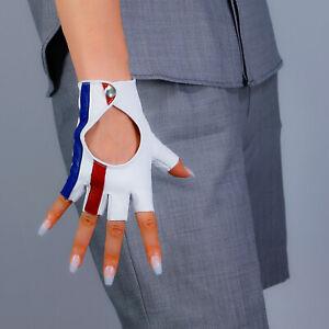 💯% REAL LEATHER Fingerless Short Gloves Half Finger White Red Blue Stripes