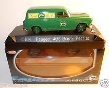SOLIDO PEUGEOT 403 BREAK PERRIER EAU GAZEUSE MINERALE NATURELLE 1/43 REF 45104