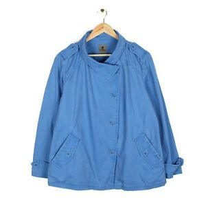 Mousqueton Yana Womens Button Blue Canvas Cotton Jacket - Size 44 UK 14-16