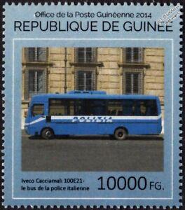 Iveco Cacciamali 100E21 Italian POLICE BUS Vehicle Transport Stamp (2014 Guinea)