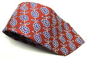 "BOGGI Milano Men's Tie Red Floral 100% Silk 3.5"" Width 62"" Length"