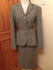 Laura  Ashley Sz 12 40s 50s Wiggle Vintage Pencil Skirt Suit Ladies  Grey   Wool