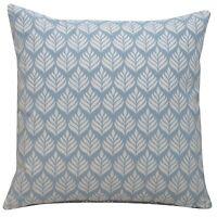 "Scandi Minimalist Leaf Cushion, Cornflower Blue. 17x17"" Square. 100% Cotton."