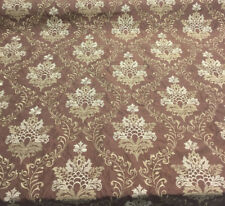 Brown Gold Damask Embroidered Faux Silk Polyester Drapery Fabric by The Yard