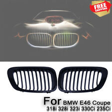 Gloss Black Front Kidney Grilles For BMW E46 M3 2D 3-Series 98-01 Pre-facelift