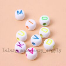 200x Hot White With Mixed Color Fluorescent Alphabet Spacer Beads 7mm On Sale L