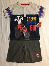 "Boys Nickelodeon Blaze ""Green Means Go"" Shirt/Shorts Set Size 6 NEW"