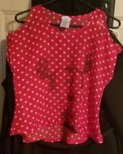 Disney Minnie Mouse Cold Shoulder Red White Polka Dot Top Shirt Blouse, Sz 10/12