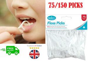 Dental Floss Sticks Tooth Picks 75/150Pc 2-In-1 Teeth Plaque Remover InterDental