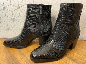 Lucky Brand Jaide Leather Croco-Embossed Ankle Boots Women's 9 M Black 9M