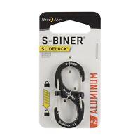 Nite Ize S-Biner SlideLock #6 Black Stainless Steel Locking Dual-Gated 3-Pack