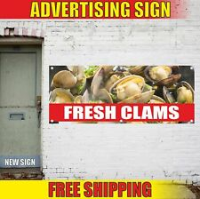 FRESH CLAMS Advertising Banner Vinyl Mesh Decal Sign sea food clams mussels eels