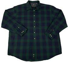 Trader Bay Mens Size 2XLT Tall Blue & Green plaid Long Sleeve Button Front Shirt