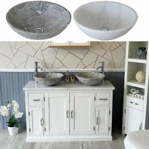 Bathroom Double Vanity Off White Painted Cabinet White Marble Top Stone Basin