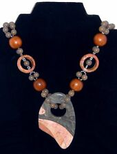 Vintage Marble Pendant Necklace Wood Beads Carved Tessellated Stone Pendant