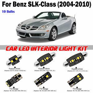 10pcs Super White LED Interior Dome Light Kit For Benz SLK-Class R171 2004-2010