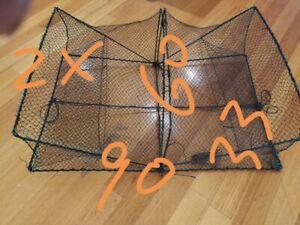 2 X RECTANGULAR CRAB TRAPS/POt - 2 ENTRY 90x60x33 - BLACK MESH $40 freeshipping