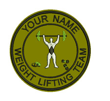 9cm Felt Embroidered Sports Club or Team Badge Your own Text Weightlifting