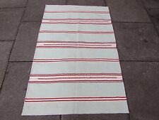 Old Traditional Hand Made Indian Dari Oriental Aqua Red Cotton Kilim 145x95cm