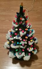 """17"""" tall x 12"""" wide green ceramic Christmas tree with snow"""