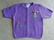 Vtg Lacy Afternoon Shell Kepler Ramie Cotton Purple S/S Cardigan Sweater Medium