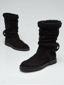 Louis Vuitton black suede and shearling fur snow winter flat boots size 7.5/38