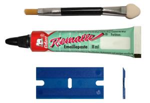 Emaillelack Emaille Paste Lack Remalle Reparaturlack weiß 8 ml Ausbesserungslack