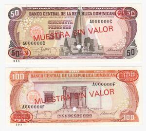DOMINICAN REP. 50 & 100 Pesos Specimen Banknotes - P.11s2 & P.122s2 - UNC.