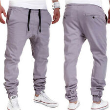Drawstring Solid Sporty Long Pants For Men - Gray