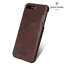 PIERRE CARDIN for iPhone 7 Plus Genuine Leather Coated Hard Shell with Card Slot