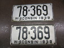 Wisconsin 1938 Pair Vintage License Plate Garage Old Car Auto Tags 1930s HOT ROD